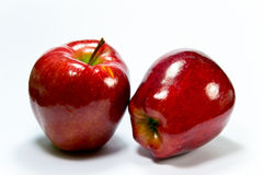 Two red delicious apples. Two shiny red delicious apples on a white background Royalty Free Stock Images