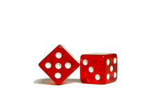 Two red dice. On a white background Royalty Free Stock Photography