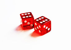Two red dice. Showing a pair of six stock photo