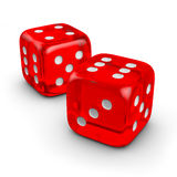 Two red dice. Two isolated red dice on white Stock Photo