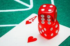 Two red dice Royalty Free Stock Photos