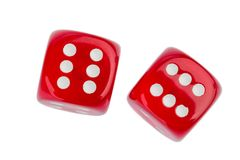 Two red dice. Red cube, symbol photo for gambling, risk and gambling addiction stock photography