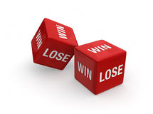 Win or Lose?. Two red dice engraved with WIN and LOSE on white background Royalty Free Stock Images