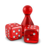 Two red dice with game figure Royalty Free Stock Photo