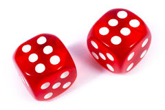 Two Red Dice. Isolated over a plain white background Stock Photo