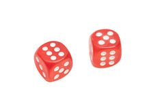 Two red dice isolated on white Stock Image
