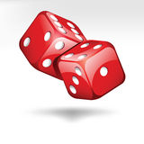 Two red dice  on white. Two red dice cubes  on white Royalty Free Stock Image
