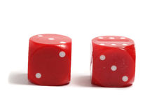 Two red dice on white background Royalty Free Stock Images
