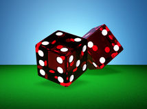 Two red dices. Two rendered red glass dices Royalty Free Stock Images