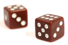 Two red dices. On a white background Stock Photos