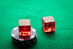 Two Red dices and poker chips Stock Photography