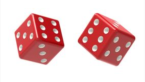 Two red dices rolls in the air isolated on white. 3D Rendering. 3D illustrations. Relaxation sign concept image Stock Images