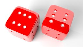 Two red dices of six Royalty Free Stock Photos