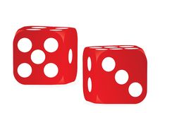 Two red dices stock illustration