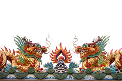 Two red dragon at chinese church Royalty Free Stock Images