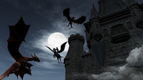 Two Red Dragons attacking the castle at night. Illustration of two Red Dragons attacking the castle. An elf on pegasus protect it royalty free stock photography