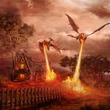 Two red dragons. Attacking the village Royalty Free Stock Images