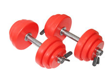 Two red dumbbells. Isolated. A sporting equipment - two red dumbbells. Isolated royalty free stock photography