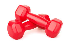 Two red dumbbells Royalty Free Stock Image