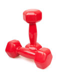 Two red dumbbells Stock Images