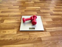 Two red dumbbells lie on the gray electronic scales. It`s a hint that it`s time to lose weight Royalty Free Stock Image