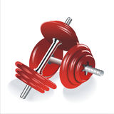 Two red dumbbells over white background Royalty Free Stock Photo
