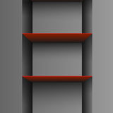 Two red empty shelf. On grey background Stock Photography