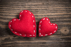 Two red felt hearts Royalty Free Stock Photography