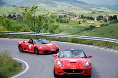 Two red Ferrari 430 Scuderia spider take part to the 1000 Miglia Ferrari Tribute Royalty Free Stock Image