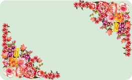 Two red floral corners on blue background Stock Image