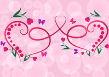 Two red floral hearts stock illustration