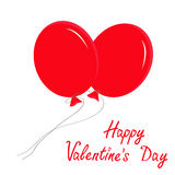 Two red flying balloons. Happy Valentines Day card Royalty Free Stock Photography