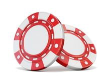 Two red gambling chips 3D. Render illustration isolated on white background royalty free illustration