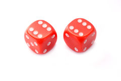 Two red game dice isolated on white. Background Royalty Free Stock Photography