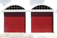 Two red garage doors Stock Photo