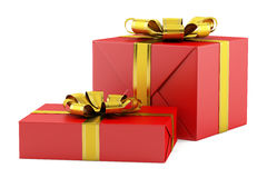 Two red gift boxes with golden ribbons isolated on white Stock Images