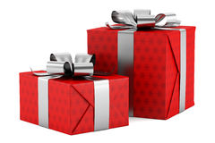 Two red gift boxes with silver ribbons isolated on white. Background Stock Photo