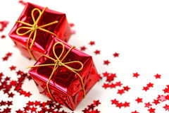 Two red gifts Stock Photos