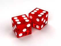 Two red glass dices. Rendered on the white background Royalty Free Stock Photo