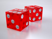 Two red glass dices Royalty Free Stock Photos