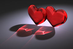 Two red glass heart Royalty Free Stock Photos