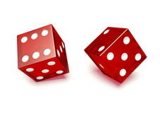 Two red glassed dice Stock Image