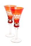 Two red glasses. On a white background royalty free stock photos