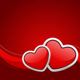 Two red glossy heart. Valentine's day background Royalty Free Stock Images