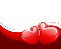 Two red glossy heart. Valentine's day background Stock Photos