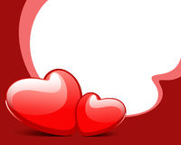 Two red glossy hearts Royalty Free Stock Photos