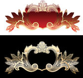Two Red And Gold  Design Elements Royalty Free Stock Photography