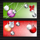 Two red and green Christmas flyers Stock Photo
