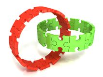 Two red and green puzzle rings Royalty Free Stock Photo