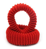 Two red hair elastics Royalty Free Stock Image